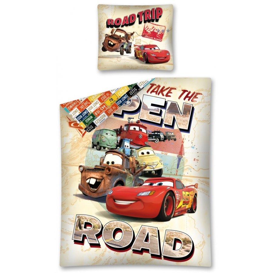 Setino · Bavlněné ložní povlečení Auta - Blesk McQueen - Take The open road - 140 x 200 + 70 x 90 cm