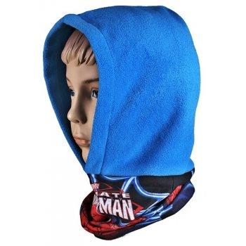 Chlapecká flísová čepice / kukla s nákrčníkem Spiderman - modrá