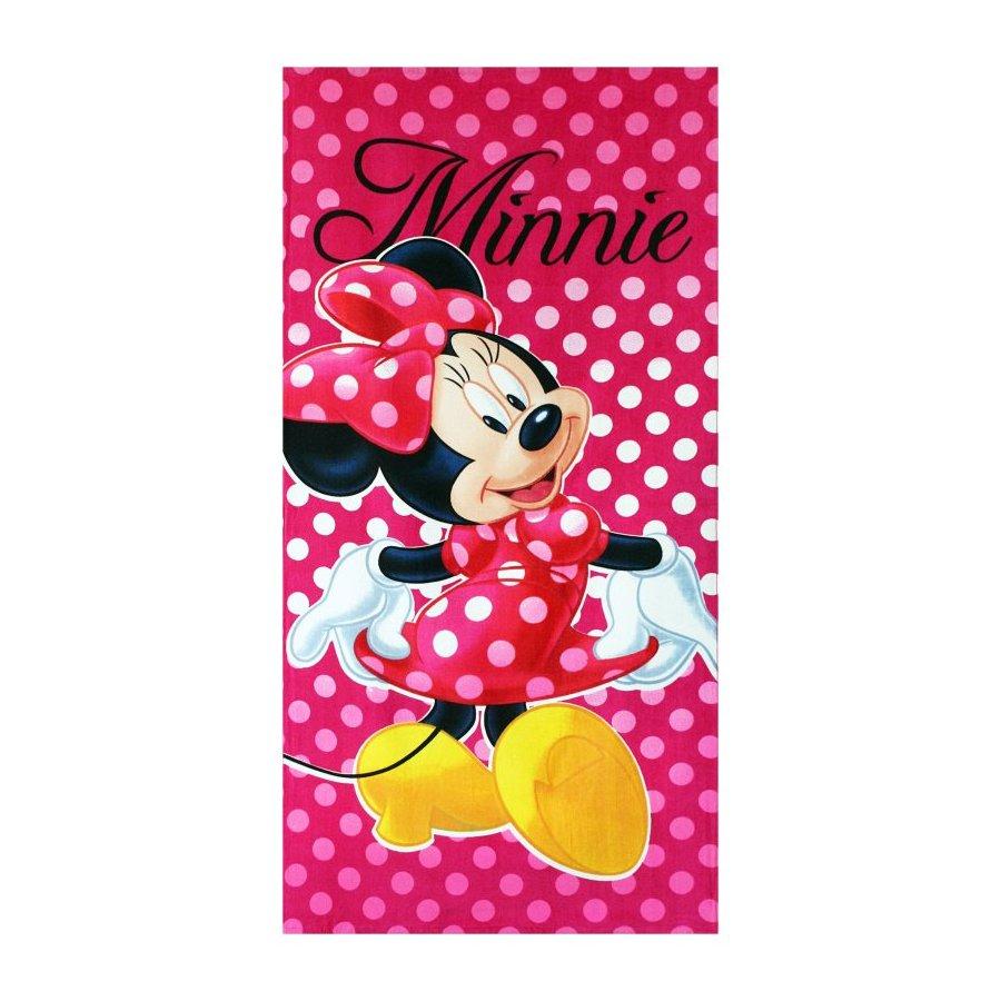 Setino · Bavlněná plážová osuška Minnie Mouse - Disney - motiv s puntíky - 70 x 140 cm