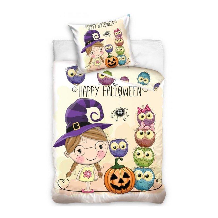 BedTex · Dětské ložní povlečení Malá čarodějnice - Happy Halloween - kolekce U and Me - 100% bavlna - 70x90 cm + 140x 200 cm