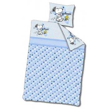 Povlečení do dětské postýlky Snoopy - modré