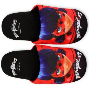 Dívčí pantofle Kouzelná beruška - Ladybug - černé