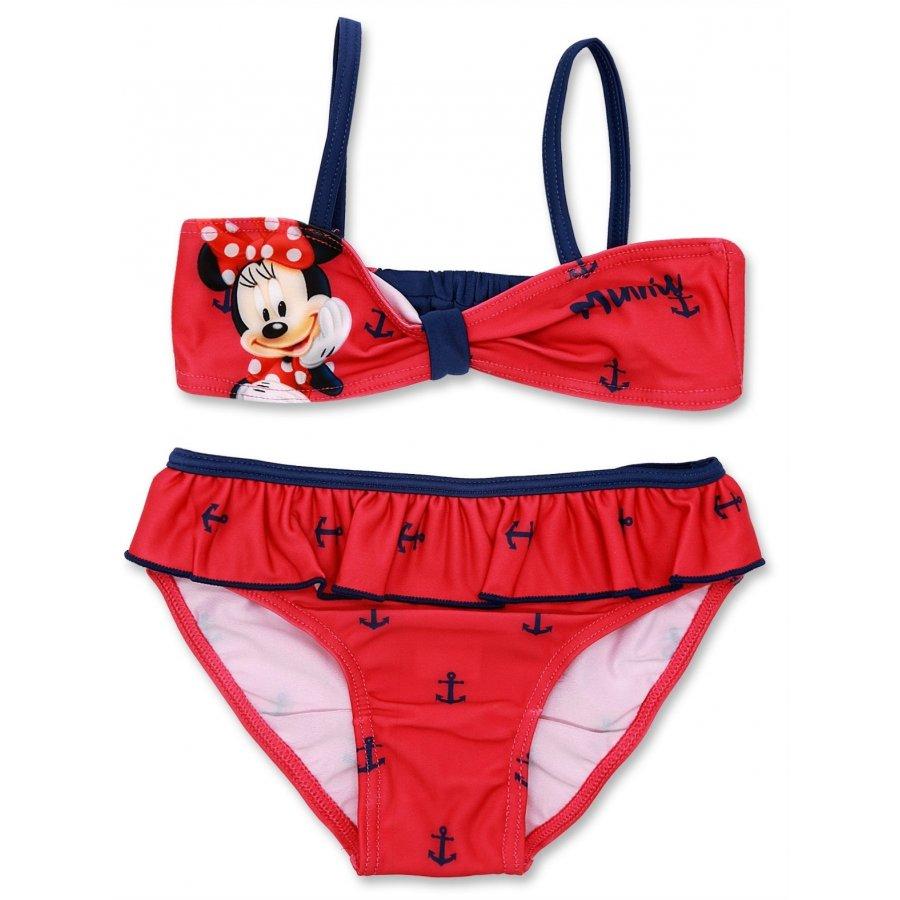Dívčí dvoudílné plavky Minnie Mouse - červené