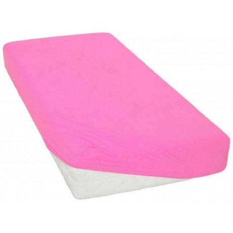Jersey prostěradlo - 90 x 200 cm - tmavě růžové