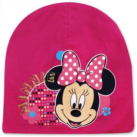 Dívčí jarní / podzimní čepice Minnie Mouse - tm. růžová