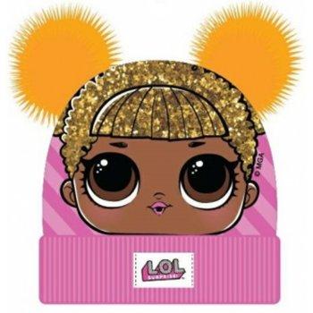 Dívčí zimní čepice L.O.L. Surprise se dvěma žlutými bambulemi