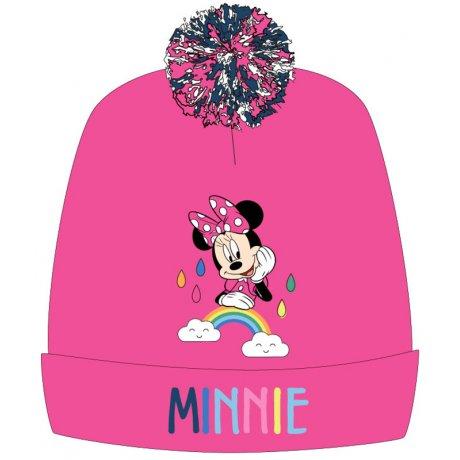 Dívčí zimní čepice s bambulí Minnie Mouse - růžová