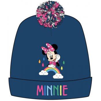 Dívčí zimní čepice s bambulí Minnie Mouse - tm. modrá