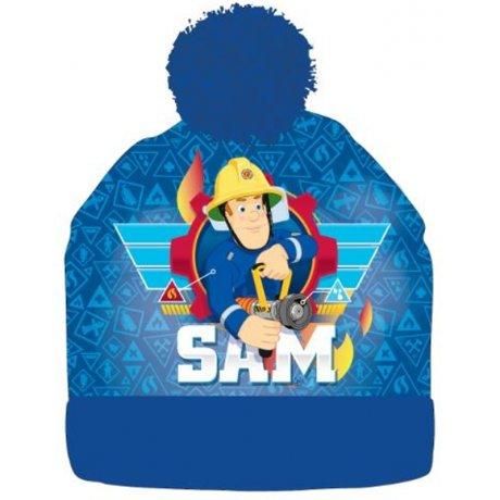 Chlapecká zimní čepice s bambulí Požárník Sam - modrá