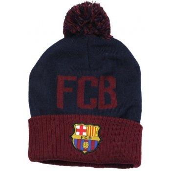 Zimní úpletová čepice s bambulí FC Barcelona - modrá navy