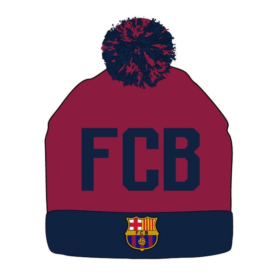 Zimní úpletová čepice s bambulí FC Barcelona - červenohnědá