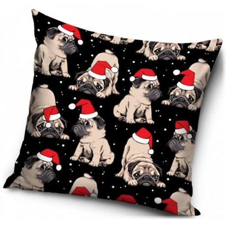 Povlak na polštář Vánoční Mops