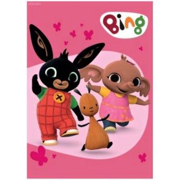 Dětská fleecová deka Zajíček Bing Bunny, Flop a Sula - růžová