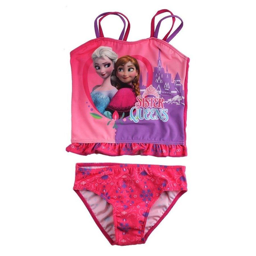 Dívčí dvoudílné plavky Ledové království - Sister Queens - tm. růžové