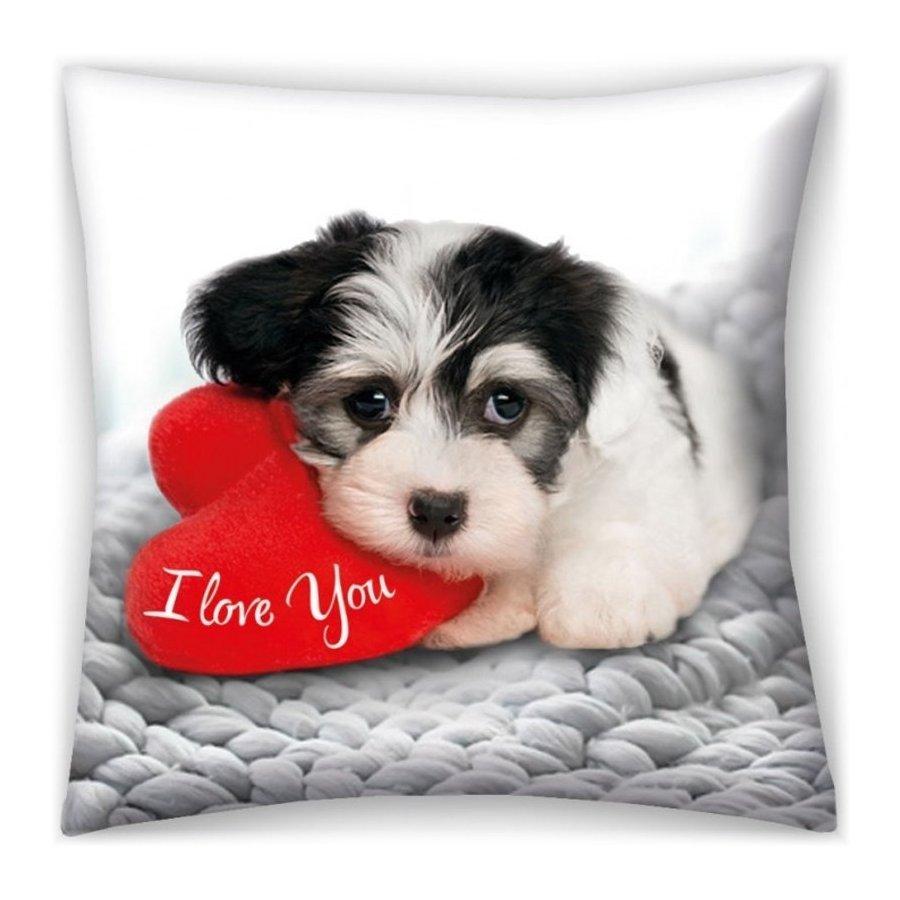 Dekorační polštář I love You - štěňátko