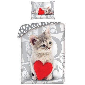 Bavlněné ložní povlečení ♡ LOVE ♡ - koťátko