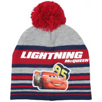 Chlapecká zimní čepice s bambulí Auta - McQueen - červená