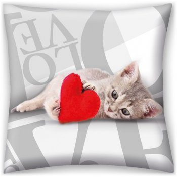 Dekorační polštář ♡ LOVE ♡ - koťátko