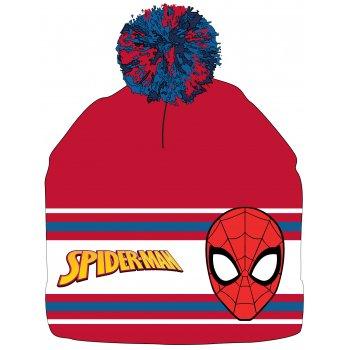 Chlapecká zimní čepice s bambulí Spiderman - červená