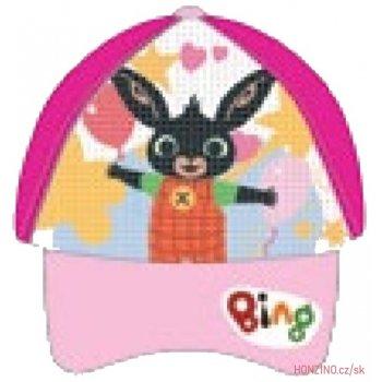 Dětská kšiltovka Zajíček Bing  s překlápěcími flitry - tmavě růžová