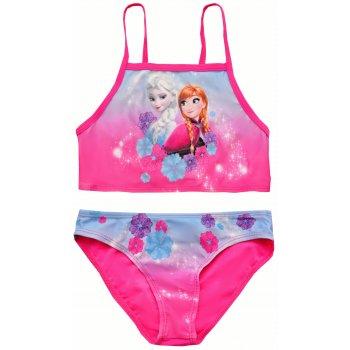 Dívčí dvoudílné plavky Ledové království - Anna a Elsa - růžové
