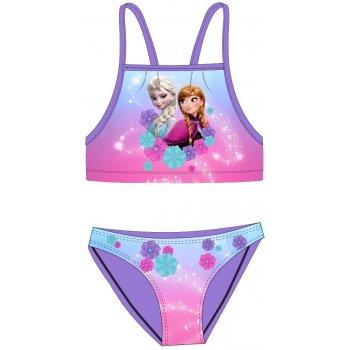 Dívčí dvoudílné plavky Ledové království - Anna a Elsa - fialové