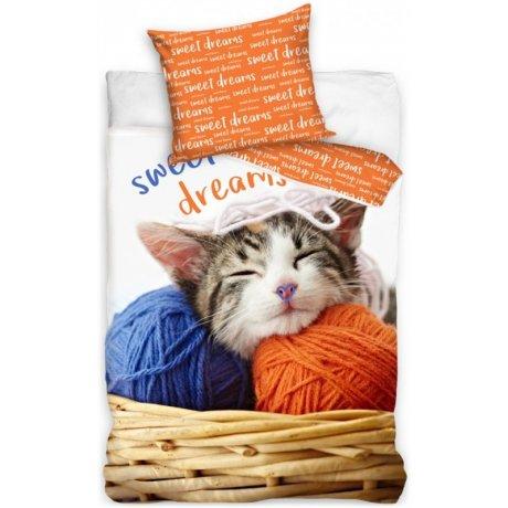Bavlněné ložní povlečení koťátko s klubíčky