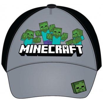 Kšiltovka Minecraft - šedo / černá