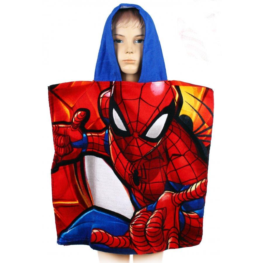 Setino · Plážové pončo - bavlněná plážová osuška s kapucí Spiderman - MARVEL - 70 x 140 cm