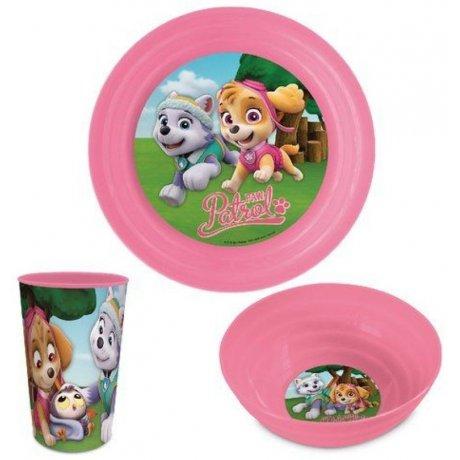 Jídelní sada plastového nádobí pro holky Paw Patrol