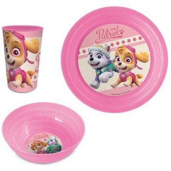 Jídelní sada plastového nádobí pro holky Tlapková patrola