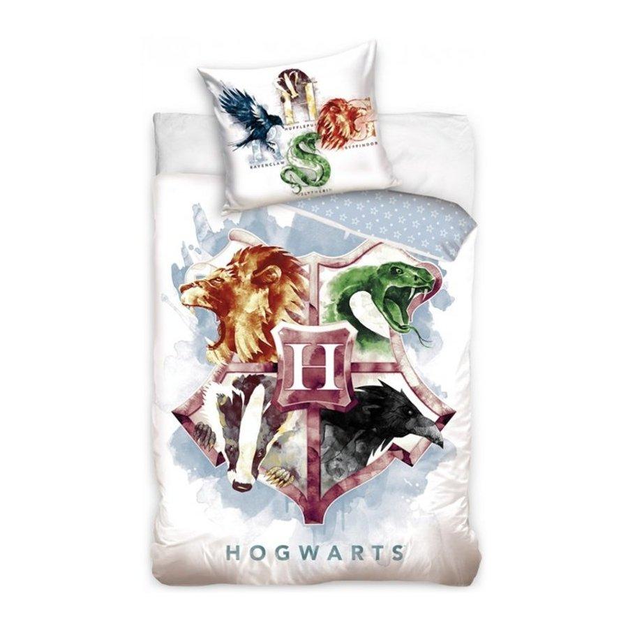 Carbotex · Bavlněné ložní povlečení Harry Potter - motiv erb Hogwarts - 100% bavlna - 70 x 90 cm + 140 x 200 cm