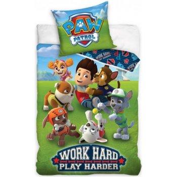 Bavlněné ložní povlečení Tlapková patrola - Work Hard - Play Harder
