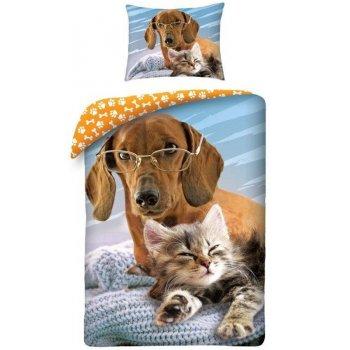 Bavlněné ložní povlečení Pes a kočka