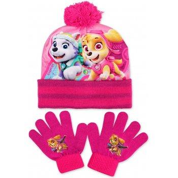 Dívčí zimní čepice + prstové rukavice Tlapková patrola