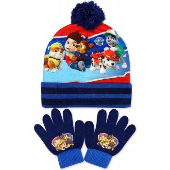 Chlapecká zimní čepice + prstové rukavice Tlapková patrola