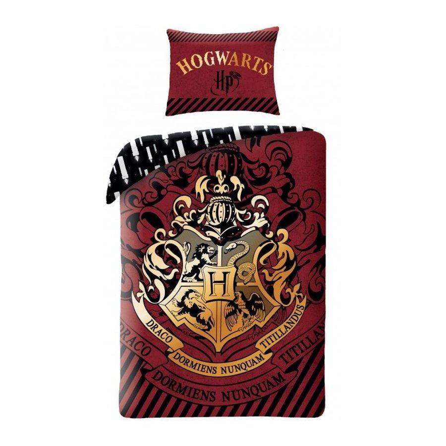 Halantex · Bavlněné ložní povlečení Harry Potter - motiv se zlatým erbem Bradavic - 100% bavlna - 70 x 90 cm + 140 x 200 cm