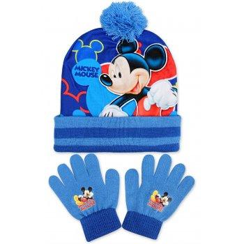 Chlapecká zimní čepice + prstové rukavice Mickey Mouse