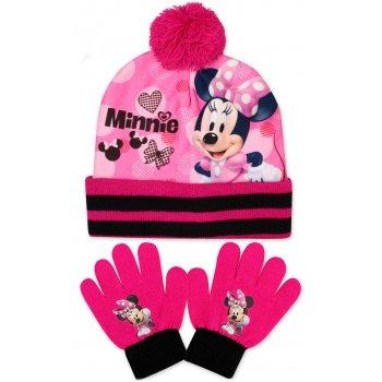 Dívčí zimní čepice + prstové rukavice Minnie Mouse