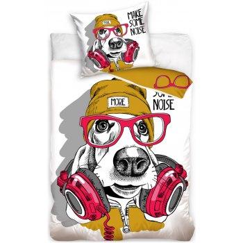 Bavlněné ložní povlečení pes Baset DJ