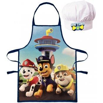 Chlapecká zástěra s kuchařskou čepicí Tlapková patrola