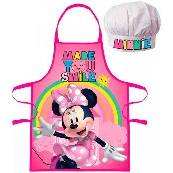 Dětská zástěra s kuchařskou čepicí Minnie Mouse - Disney - s duhou