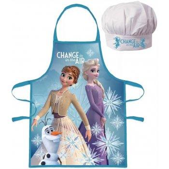 Dívčí zástěra s kuchařskou čepicí Ledové království 2 - Anna a Elsa s Olafem