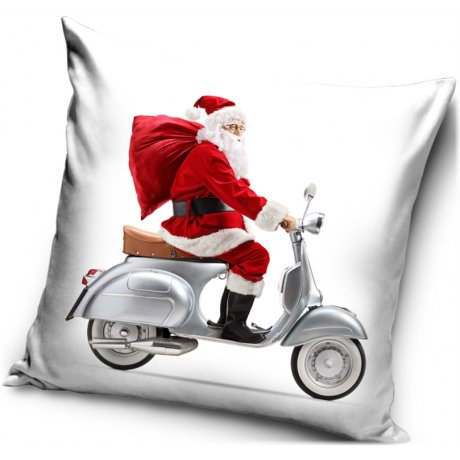 Vánoční povlak na polštář Santa na Vespě