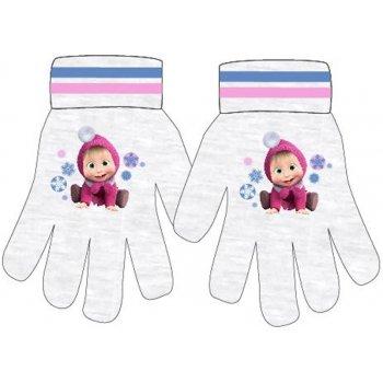 Dívčí pletené prstové rukavice Máša a medvěd