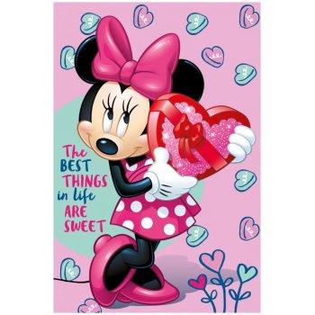 Flísová deka Minnie Mouse - Sladké srdíčko