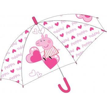 Dívčí vystřelovací deštník Prasátko Peppa a srdíčka