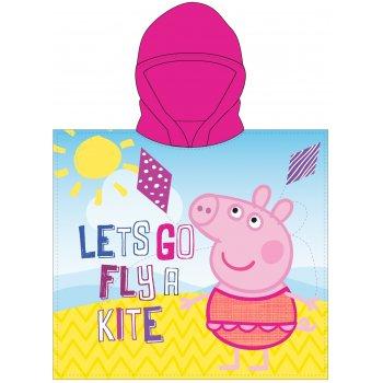 Dívčí pončo - osuška s kapucí Prasátko Peppa - Let's Go Fly a Kite