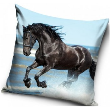 Polštář s koněm - Černý Mustang