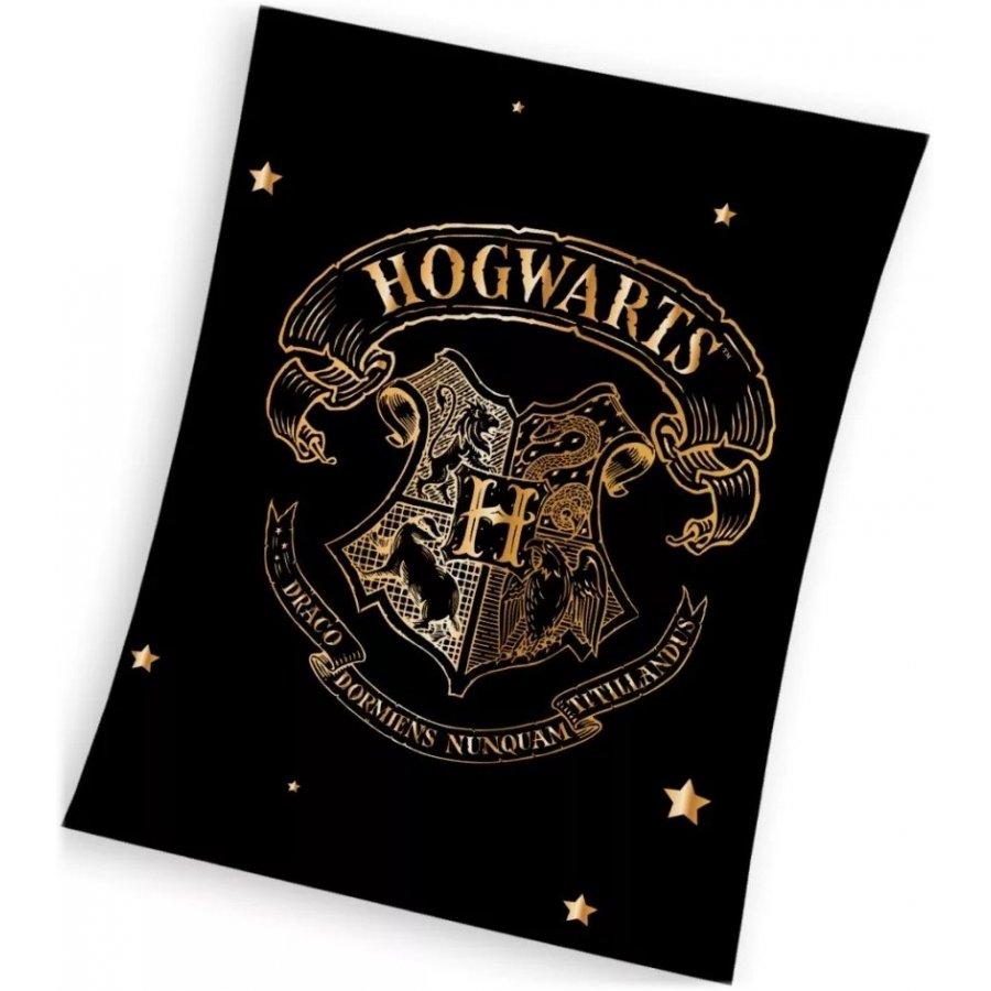 Velká fleecová deka Harry Potter se zlatým erbem Bradavic